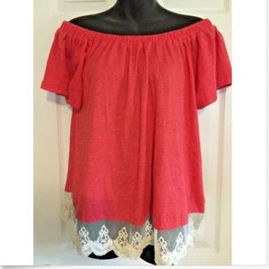 Umgee Knit Off the Shoulder Top size S Watermelon